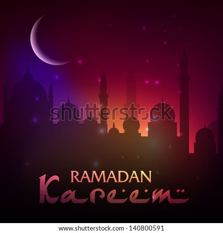 View of Mosque in shiny moonlight night background for Ramadan Kareem. - stock vector