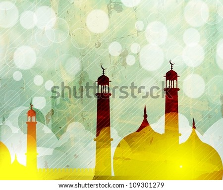 View of Mosque or Masjid on creative background. EPS 10. - stock vector