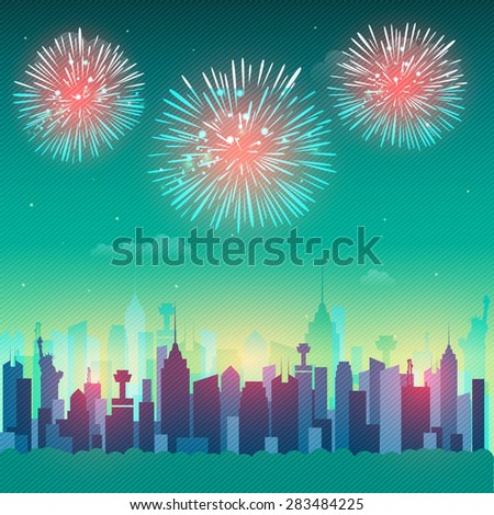View of New York city architecture with firecrackers for American Independence Day celebration. - stock vector