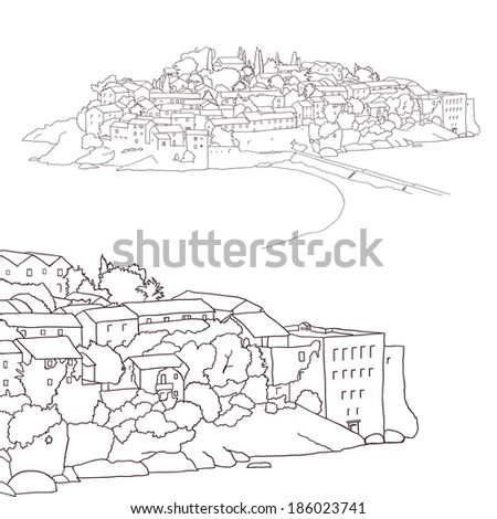 View of Sveti Stefan Island. Vector illustration.