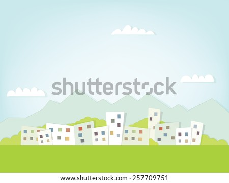View of the city against the backdrop of mountain scenery - stock vector