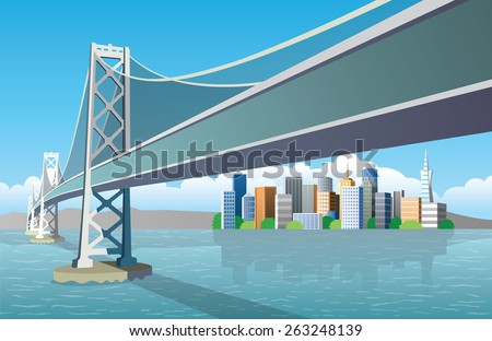 view of the city from the sea - stock vector