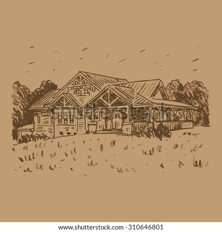 View Of The Country House In Woods Vector Freehand Pencil Outline Sketch