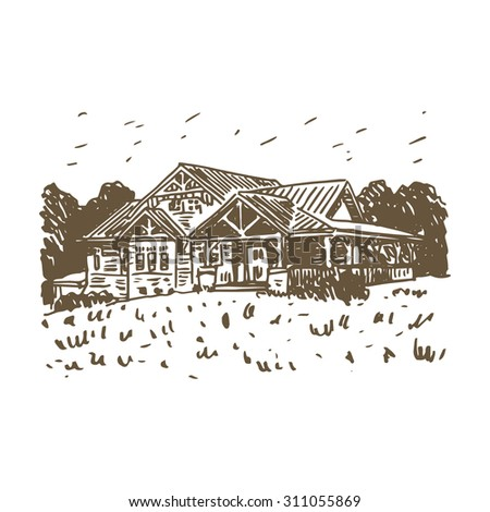 View of the country house in the woods. Vector freehand pencil outline sketch.