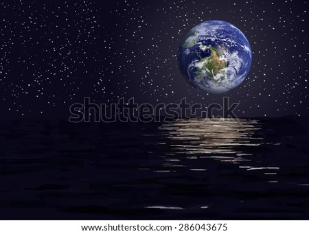 View of the earth from outer space vector illustration.Elements of this vector furnished by NASA - stock vector