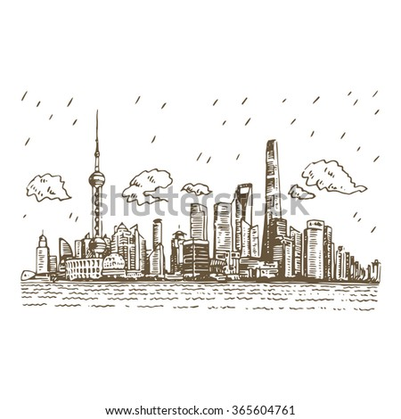 View Of The Pudong Shanghai China Vector Freehand Pencil Sketch