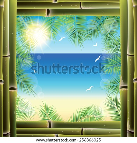 View of the seashore from the resort bungalow window. Vector illustration.  - stock vector