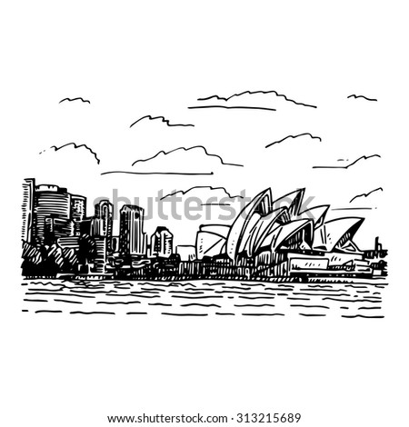 View of the Sydney Opera House, Australia. Vector freehand pencil sketch. - stock vector