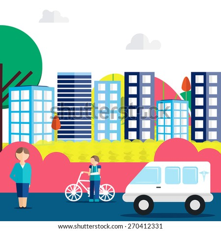 View of urban city road with illustration of a injured boy, a lady and an ambulance for Health and Medical concept. - stock vector