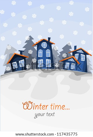 View on small village on the hill in winter time. - stock vector