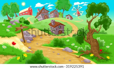 View on the countryside. Vector illustration - stock vector