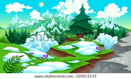 View on the mountains. Vector cartoon illustration - stock vector