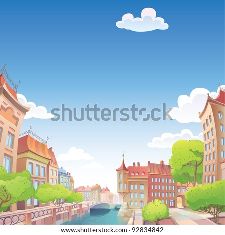 View on the old European city streets and the river quay. - stock vector