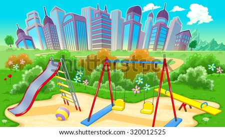 View on the playground with city. Vector cartoon illustration - stock vector