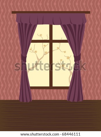 View on the window of an empty room - stock vector