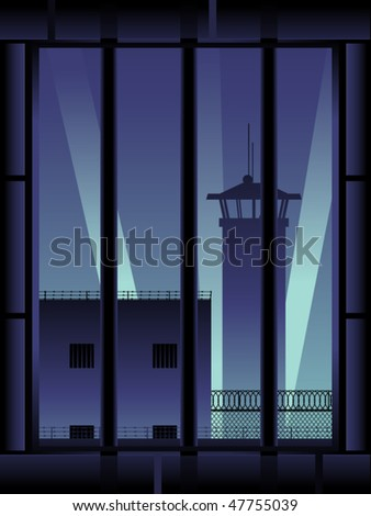 View out of a prison cell window at night - stock vector