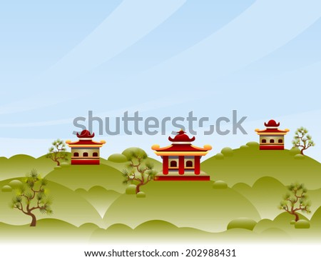 View with pagodas. Cartoon illustration with tranquil landscape. Abstract landscape with green hills, pagodas and pine trees. High soft sky above horizon. Vector file is grouped EPS8. Gradient fills. - stock vector
