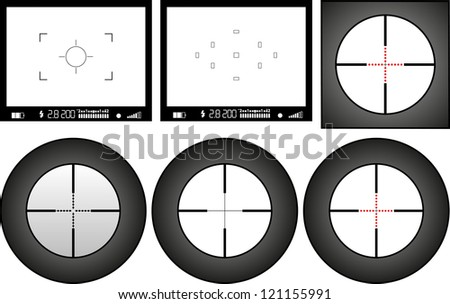 viewfinder of digital camera and sniper rifle, free space for pictures - stock vector