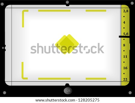 viewfinder view of a vintage rangefinder camera, free space for pix - stock vector