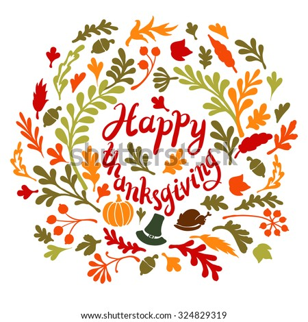 Vignette of autumn leaves . Autumn, leaves, includes text Happy thanksgiving Vector illustration - stock vector
