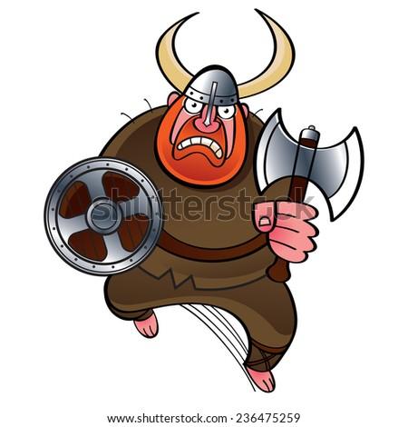 Viking ancient warrior in horned helmet with battle axe - stock vector