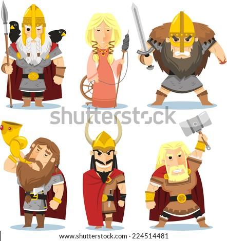 Viking gods cartoon illustrations - stock vector