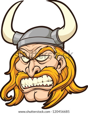 Viking head. Vector clip art illustration with simple gradients. All in a single layer. - stock vector