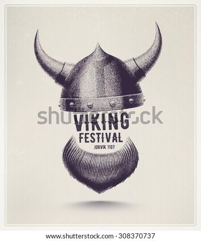 Viking Helmet Beard Jorvik Viking Festival Stock Vector 308370737 ...