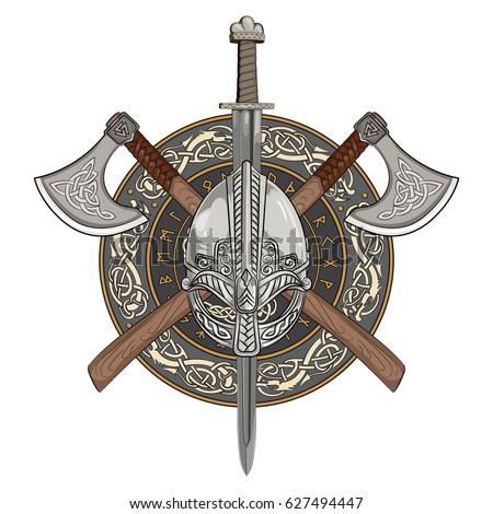 viking helmet crossed viking axes wreath stock vector 627494447 shutterstock. Black Bedroom Furniture Sets. Home Design Ideas