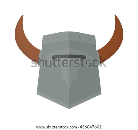 Viking helmet isolated and knight helmet vector warrior ancient. Metal old knight helmet and medieval soldier viking helmet armor history ancient sign. Strong horned safety protection helm protective. - stock vector