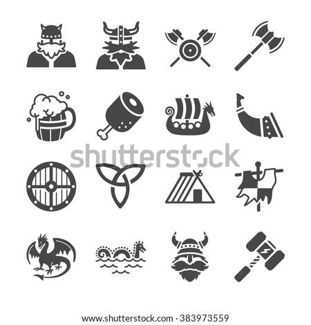 Viking icons  - stock vector