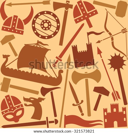 viking icons seamless pattern - stock vector