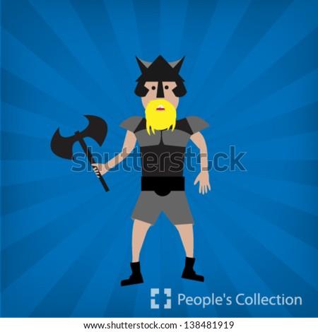 viking  illustration - stock vector