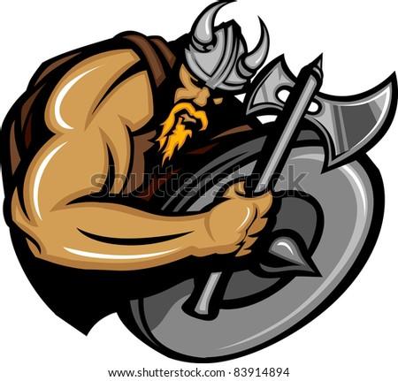 Viking Norseman Mascot Cartoon with Ax and Shield - stock vector