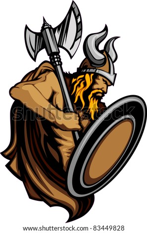 Viking Norseman Mascot Standing with Ax and Shield - stock vector