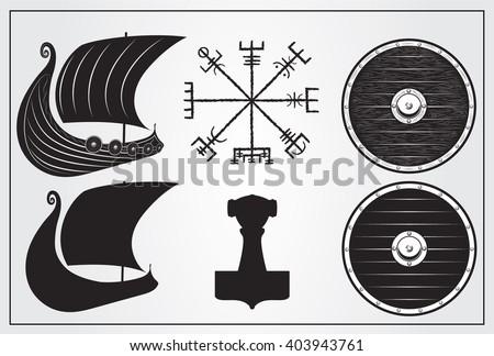Viking Set Design Elements Icon Drakkar Stock Vector 403943761