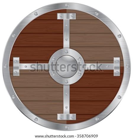 Viking shield. Vector illustration isolated on white background. - stock vector