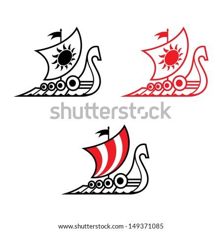 Viking ship Drakkar medieval ancient military sailboat - stock vector