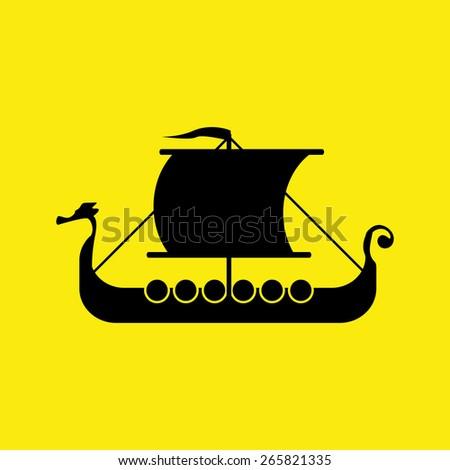 viking ship. vector illustration eps 10. - stock vector