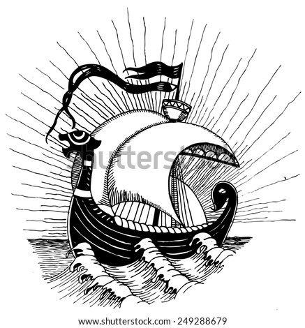 Viking ship. Vectorized ink drawings.