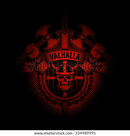 Viking Valhalla emblem appearing out of the darkness. Perfect on your black t-shirt! - stock vector