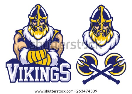 viking warrior mascot crossed arm pose - stock vector