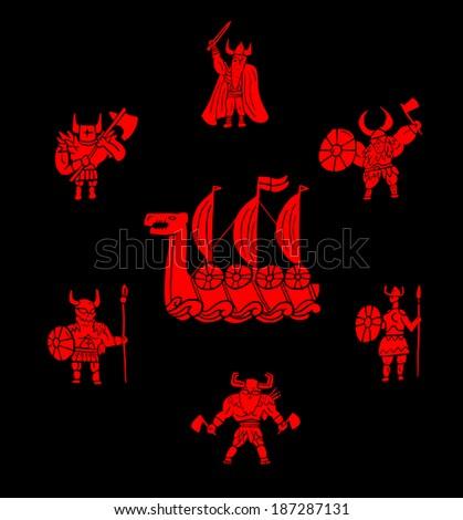 Viking warrior set - stock vector