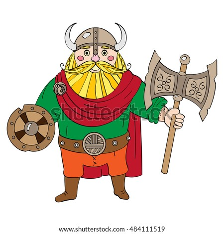 Viking wearing a helmet with horns. In the hands of an ax and shield. Positive cartoon.