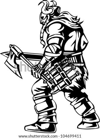 Viking with an ax - black white vector illustration. Vinyl-ready. - stock vector