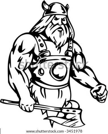Viking with axe. Vector Image. Ready for vinyl cutting. - stock vector