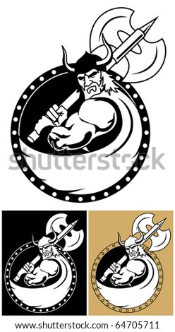 Viking With Axe: Viking symbol or mascot. You can place a name, title or other text on the Viking's cloak. No transparency and gradients used. - stock vector