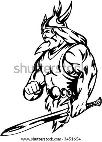 Viking with sword. Vector Image. Ready for vinyl cutting. - stock vector