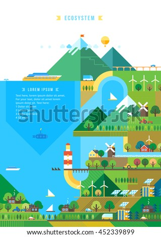 Village and landscape flat illustration. Mountain landscape. Ecological holidays. The development of agriculture. - stock vector
