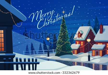 Village at night. Christmas greeting card. Vector illustration. - stock vector